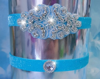 Ice blue Wedding Garter set, crystal flat garter, crystal, rhinestone, blue sparkle, glitter garter