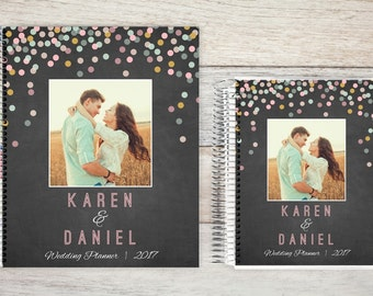 Custom Wedding Planner, Wedding Book, Wedding Planning Guide, Wedding Planner Book, Bridal Planner, Engagement Gift, colorful confetti
