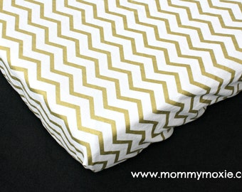 Gold Chevron on White Changing Pad Cover - Nursery Bedding for the Modern Baby -Gender Neutral - by Mommy Moxie on Etsy