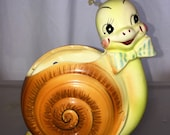 RESERVED for Bianca vintage Enesco Snappy the snail wall pocket