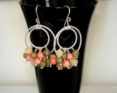 """SHOP CLOSING SALE: Ashira Coral Unakite Vessonite Idocrase Green Yellow Hand Wrapped Silver Dangle Chandelier Double Looped Earrings 2.25"""""""