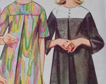 60s Inverted Pleat Dress Sewing Pattern A Line Butterick 4386 Size 10 UNCUT