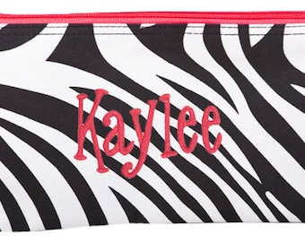 Personalized Cosmetic Case or Pencil Pouch Black & White Zebra Red Trim