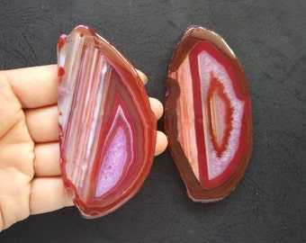 Giant Large Fuchsia Hot Pink Stripe Druzy Agate Pendant  -As Pictured -#160926012