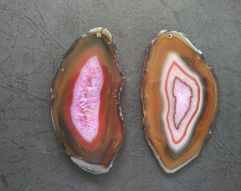 Giant Large Brown Hot Pink Stripe Druzy Agate Pendant  -As Pictured -#160926013