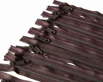 14 inch Long Pull Handbag Zippers 9 pieces in Chocolate Brown, Diaper Bag Zippers, Closed End Zippers, Brown Zippers, Nylon Coil, 14 inch