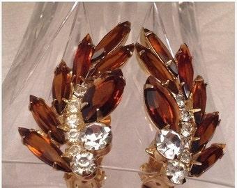 50% Juliana D&E Cognac Amber Topaz Rhinestone Earrings