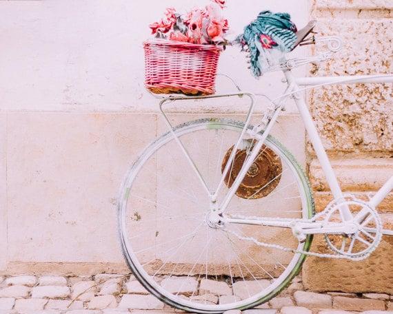 Bike Print, Girls Room Decor, Nursery Art, White Bike, Shabby Chic Decor, Vintage Style Bike, Bike Photo, Travel Photo, Romantic Print