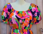 DRESS - LONG - made in HAWAII - purple - navy - pink - orange - green - flowers - ruffles - size M