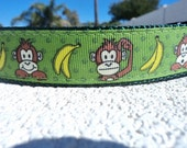 """Sale Dog collar 1"""" wide Side Release buckle or Martingale Collar Monkey Faces - S-XL"""