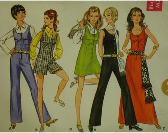 70s Jumpsuit, Romper Pattern, Scoop Neck, Fitted, Sleeveless, Button Front, Long Dress, Mini Jumper, Pockets, Butterick No. 5558 Size 12