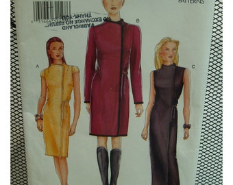 Wrap Dress Pattern, Straight, Semi-fitted, Raised Neck, Sleeveless/Cap/Long Sleeves, Ties, Vogue No.7311 UNCUT Size 8 10 12 OR Size 14 16 18