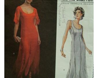 Tom Platt Fitted Evening Gown Pattern, Uneven Hem, Princess Seams, Scoop Neck, Sleeveless, Vogue American Designer 2798 UNCUT Size 6 8 10