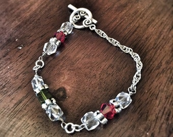 Red, green, clear crystal silver chain bracelet
