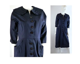 50s Navy Blue Dress, Syd Chicago, Vintage 1950s,  30 Inch Waist, with Pockets