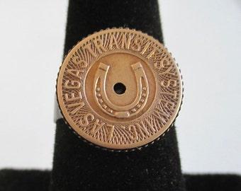 Las Vegas Transit Token Ring - Repurposed Vintage Bronze Horseshoe Coin, Adjustable Size
