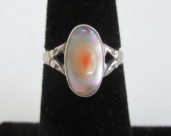 925 Sterling Silver & Abalone Ring - Size 3 3/4, Beautiful Stone