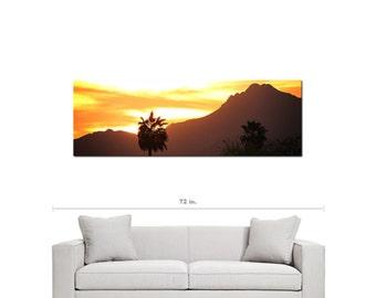 Large Canvas - Mountain Canvas - Summer Canvas - Palm Trees - Rustic Canvas - SW Decor - Arizona - Tall Canvas - Fine Art - 20 x 60 Canvas