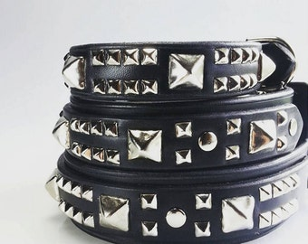 Dog Collar Leather - Pitbull Dog Collars in Black Geniune Leather - Strong Dog Collar for Pit Bulls - Studded Leather Dog Collar