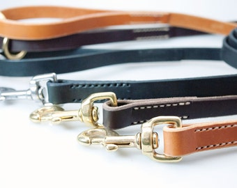 Dog Leash 4ft 5ft Hand-stitched Detailing - Leather Dog Lead in Custom Lengths - Leather Dog Leash with Swivel Hooks - Pit bull Leash