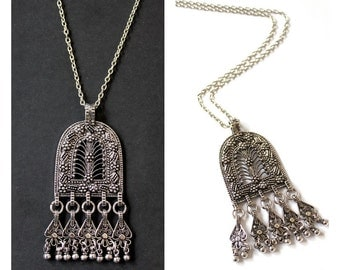 Vintage inspired Ethnic Moroccan replique Floral Arch Amulet silver plated necklace Boho long layering necklace by Inali