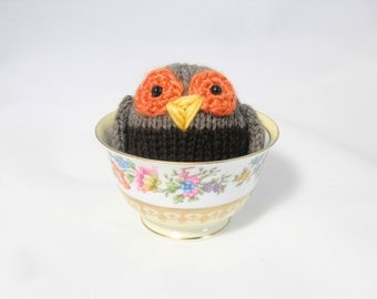 Hand Knit Owl. Brown Owl. Woodland Plush. Pretend Play. Stuffed Owl. Basket Stuffer. Ready To Ship. Gifts Under 10