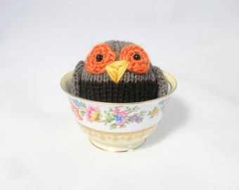 Hand Knit Owl. Brown Owl. Woodland Plushie. Pretend Play. Stuffed Owl. Basket Stuffer. Ready To Ship. Gifts Under 10