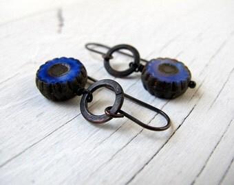 Blue Bohemian Earrings, Czech Glass Dangles, Cobalt Blue Drops, Bohemian Bijoux, Boho Chic Earrings, Black Brass Hoops, Hipppie Chic Earring