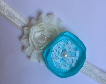 Ivory and blue girls headband, ivory and aqua blue headband