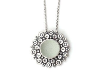 Pale Green Mandala - Rustic English Sea Glass and Sterling Silver Necklace bezel set