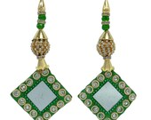 Indian Women Dress Embellishment Mirror Tassels Green Golden Beaded Latkans Sari Blouse Decorative Crafting Supply Latkan By 1 Pair FRA269H