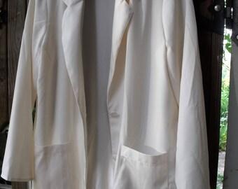 Thrifted Couture/ Pale Cream Maggie Sweet Jacket/ Designer Jacket/ Retro Designer Blazer/ Shabbyfab Funwear