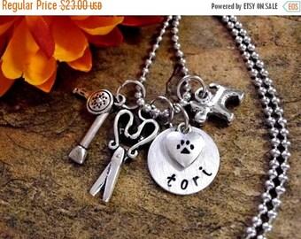 SALE Dog Groomer Jewelry, Dog Groomer Necklace, Personalized Jewelry, Hand Stamped Jewelry
