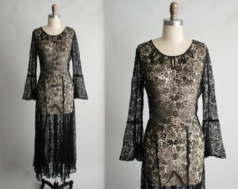 30's Lace Dress // Vintage 1930's Sheer Black Lace Evening Gown S M