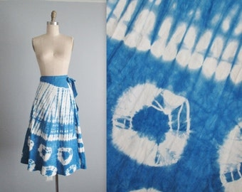 STOREWIDE SALE 70's Tie Dye Skirt // Vintage 1970's Tie Dye Cotton Summer Wrap Skirt  XS S M