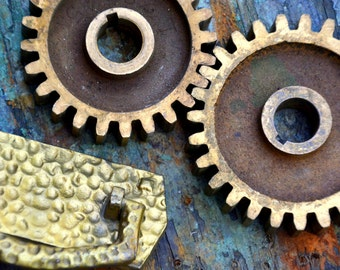 """Two Large (3""""+) Thick Brass Gears & Hammered Handle Pull: Set of Tools / Paperweights / Sculpture Parts -- Steampunk Supplies Lot #82"""