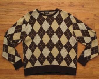 mens vintage shaggy argyle sweater