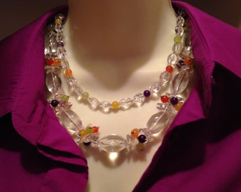 Chunky clear quartz cluster necklace, cheap gift idea, handmade, multi strand, purple amethyst, orange carnelian, olive jade, handmade