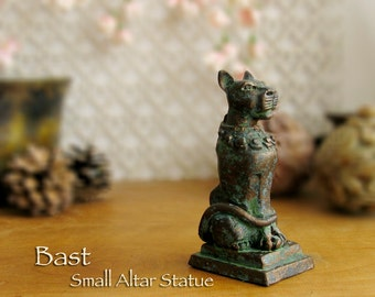 Bast Small Altar Statue - Bastet - Ancient Egyptian Goddess of Protection - Handcrafted Polymer Clay Statue - Aged Bronze Patina Finish