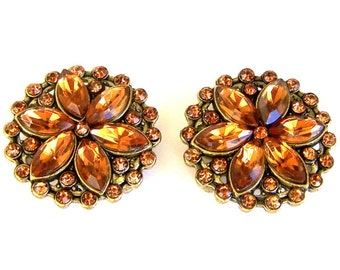 Topaz rhinestone slider beads, topaz 2 hole sliders, round gold large sparkly two hole beads, topaz marquis stones, qty 2