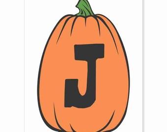 Printable Digital Download DIY - Fall Art Monogram Pumpkin - TALL J - Print frame or cut out for seasonal Halloween decorating orange black