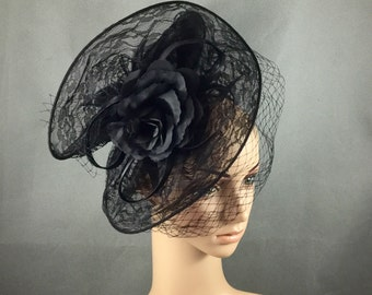 Black Lace Fascinator with Veiling and Rose ,Black Dress Fascinator, Black Funeral Fascinator