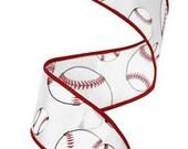 1.5 Inch White Red Black Baseball Ribbon RG1746, Deco Mesh Supplies, Poly Mesh Supplies