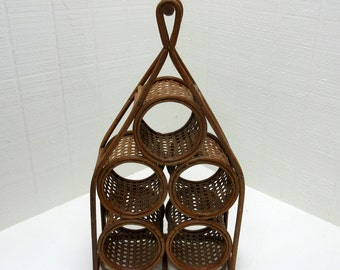 Vintage Wine Rack Wicker And Cane 5 Bottle