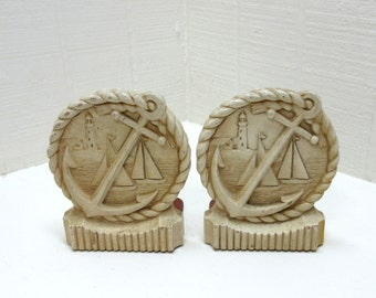 Vintage Syroco Wood Nautical Bookends Syroco Anchor Bookends Syroco Sailboat Bookends