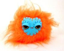 Stuffed Toy Ball - Neon Orange Monster Softie - Small Stuffed Monster - Kawaii Plush Monster - Stuffed Toy - Children's Gift