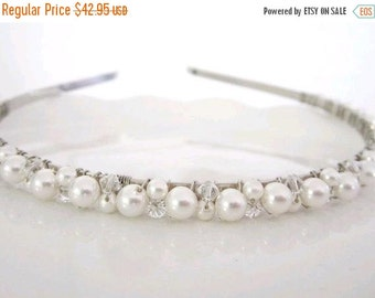 ON SALE Bridal Headband  Ivory or White Pearl with Swarovski Crystals---Stardust