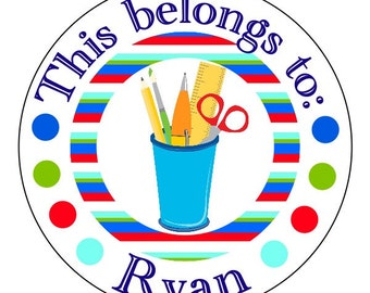 custom school stickers, personalized back to school labels, school supplies stickers, this belongs to stickers, 3 sizes available