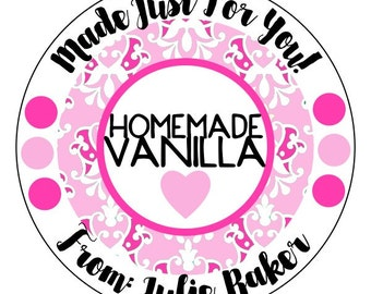 homemade vanilla stickers, gift stickers, heart gift stickers, pink homemade sticker labels, available in 3 sizes