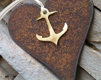 Mixed Metal Heart and Anchor ornament Custom Nautical decor Gold Anchor recycled metal ornament Rustic heart ornament